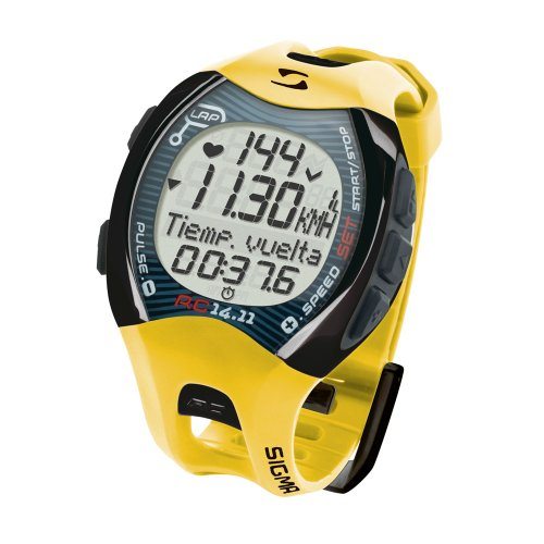Sigma Reloj Pulsómetro Deportivo RC 14.11 Amarillo, Incluye Banda torácica, señal codificada, Unisex