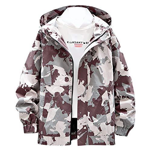 MAYOGO Herren Sweatjacke Lässige Camouflage Kapuzenjacke Regenjacke Streetwear College Jacke Übergangsjacke Dünn Full Zip Herrenjacke Jacken Cardigan Sweatjacke Mantel (Camouflage, L)