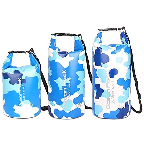 Roeam Bolsa Impermeable,5L/10L/15L Set de Mochila Estanca,Bolsa Seca para Trekking Nadar Kayak Deportes Acuáticos