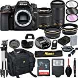 Nikon D7500 DSLR Camera with 18-55mm VR and 70-300mm VR Lenses + 32GB Card, Tripod, Flash, and More (21pc Bundle)