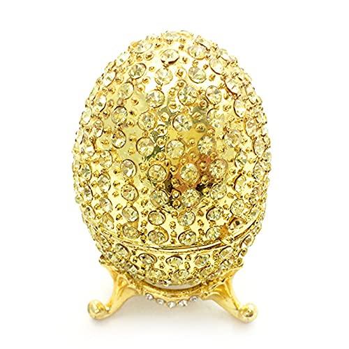 KKJJ Joyero Pintado Esmalte Caja de Baratijas, Caja de Almacenaje para Huevos de Joyería de Pascua Esmaltada, Decoración, Manualidades, Regalo,Oro