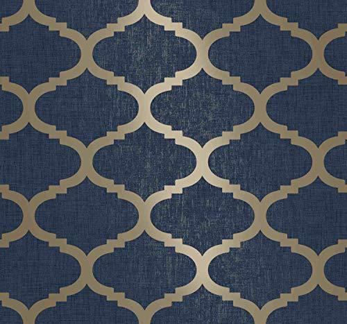 Navy Gold Trellis Midnight Blue Moroccan Tile Geometric Metallic Wallpaper