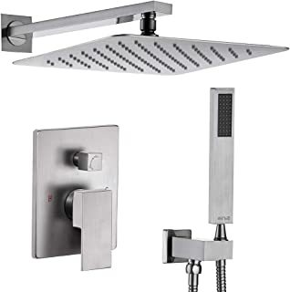 Esnbia Brushed Nickel Shower System, Shower Faucet Set with Valve and 12