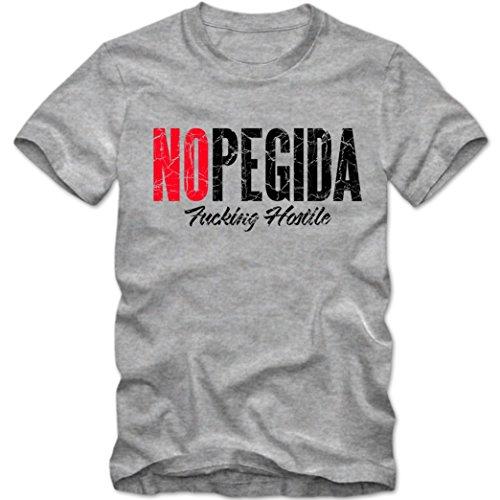 No PEGIDA T-Shirt |PGDA |Dügida |Kögida | Legida Shirt |Tee, Farbe:Graumeliert (Grey Melange);Größe:M