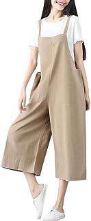 女性プラスサイズのコットンと麻のルーズ半袖カジュアルジャンプスーツ