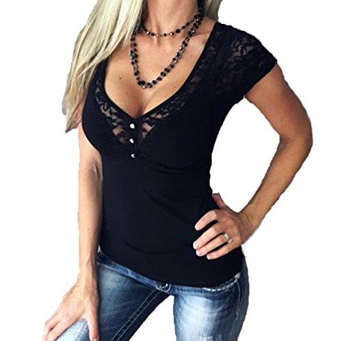 Damen Sexy V-Ausschnitt T-Shirt Mit Spitze