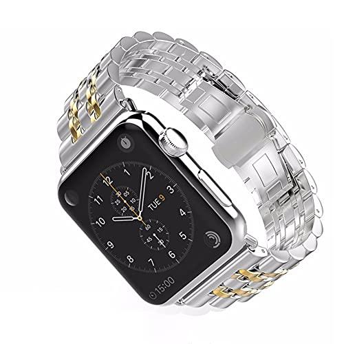 CHENPENG Correa de Metal Compatible con Apple Watch Series SE / 6/5/4/3/2/1, Correa de Acero Inoxidable de Repuesto, para Hombres y Mujeres,Oro,42mm