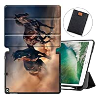 MAITTAO iPad 9.7 Inch 2018 2017 Case with Pencil Holder,Soft TPU Back Folio Stand Protective Smart Cover For iPad Air 1 / Air 2 / 5th 6th Gen With Tablet Sleeve Bag 2 in 1 Bundle, Akhal-Teke Horse 4