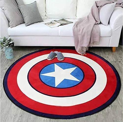 Tapis Rond Tapis Diamètre Rond Marvel The Avengers Tapis en Peluche Iron Man Captain America Batman Tapis Coton Cadeau De Noël pour Enfants 120 Cm