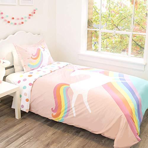 Little Twines Unicorn Bedding Bettbezug und Kissenbezug für Doppelbett, Bio-Baumwolle, GOTS-zertifiziert, Inneneckbänder, Regenbogenrosa Schlafzimmerdekoration für Mädchen – Bettdecke nicht im Lieferumfang enthalten