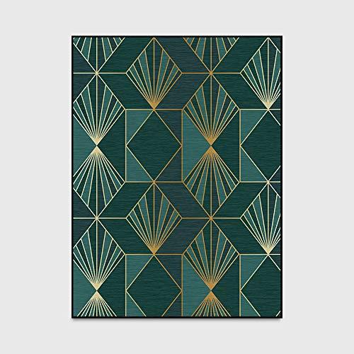Home Designer Teppich Dark Green Goldene Geometric Schlafzimmer Wohnzimmer Fußmatte Bedside Teppichboden-Matten (160 * 230cm),100 * 160cm