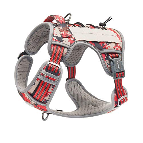 Auroth Tactical Dog Training Harness No Pulling Front Clip Leash Adhesion Reflective K9 Pet Working Vest Easy Control for Small Medium Large Dogs Red Camo M