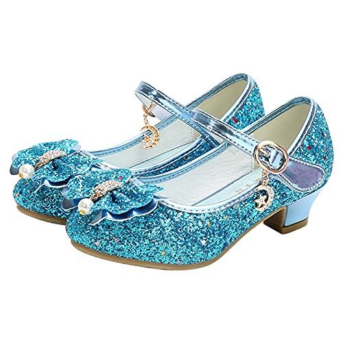 dPois Zapatos de Princesa Niñas con Lentejuela Disfraz Princesa Zapatos de Tacón Velcros Bailarina Zapatillas de Baile Zapatos de Fiesta Carnaval Navidad Cumpleaños EU27-32 Azul 27 EU