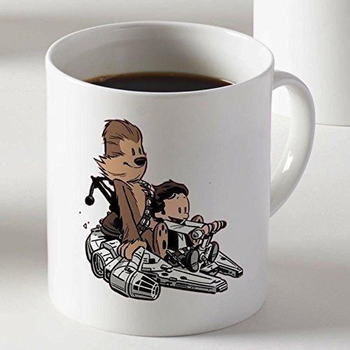 Lustige Kaffeetasse,personalisierte Porzellantasse,benutzerdefinierte Keramik Teebecher Calvin & Hobbes als Han Solo und Chewbacca Kaffeetasse Zwei Seiten drucken Teebecher,11 Unzen