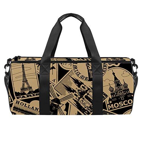 TIZORAX - Bolsa de deporte impermeable para gimnasio, bolsa de lona de papel vintage con marcas de viaje, etiquetas de viaje, gimnasio, bolsa seca y húmeda separada para mujeres y hombres
