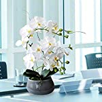 white orchid artificial flowers with gray vase large silk faux phalaenopsis flowers for dining room table floral centerpieces indoor decoration