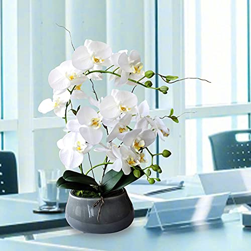 White Orchid Artificial Flowers with Gray Vase Large Silk Faux Phalaenopsis Flowers for Dining Room Table Floral Centerpieces Indoor Decoration Silk Flower Arrangements