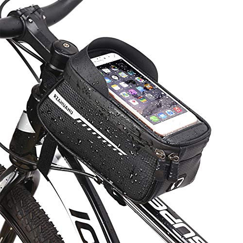 OhhGo Bicicleta frontal marco teléfono Mount Bag Bike Ciclismo bolsa de almacenamiento con pantalla táctil teléfono caso para teléfono bajo 6.5 pulgadas