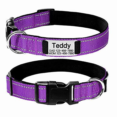 Oncpcare collare personalizzato per cani, targhetta identificativa riflettente personalizzata per animali domestici, collare regolabile in nylon resistente per cani di piccola e media grande