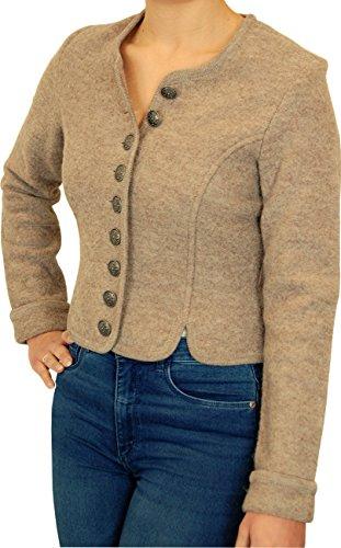Edle Dirndljacke Trachtenjacke BELLA Walk 100% Wolle figurbetonend, Größen:48;Farben:sand