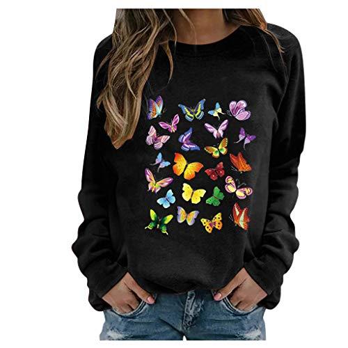 BOIYI Camiseta Manga Larga de Cuello Redondo Mujer Jersey con Estampado de Mariposas de Colores Casual Camiseta Otoño Primavero Sudaderas Blusa Tops Pullover(Negro,M)
