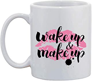 Artsbaba White Mug Wake Up And Make Up Coffee Mug Ceramic Warm Hands Coffee Mug Cup Family Friends Birthday Gifts 11 oz