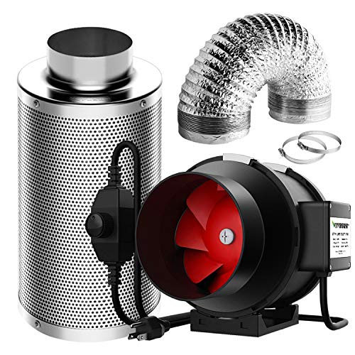 VIVOSUN Ventilation Kit 6 Inch 390 CFM Inline Fan with Speed Controller, 6 Inch Carbon Filter and 16 Feet of Ducting for Grow Tent