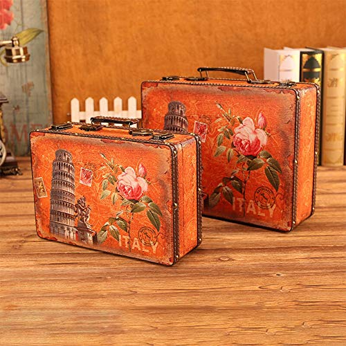 XIAOLULU-Travel Koffer, Kofferset, Retro-Stil Koffer Vintage Reise-Koffer aus Leder Home Decor Parteien Hochzeit Dekoration Displays Crafts (Farbe : Orange,...