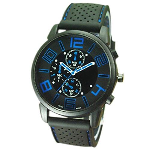 Zhouba Herren-Armbanduhr, Quarz, analog, Gummi, Silikonband, Edelstahl, Sport-Armbanduhr, Herren, blau, Einheitsgröße