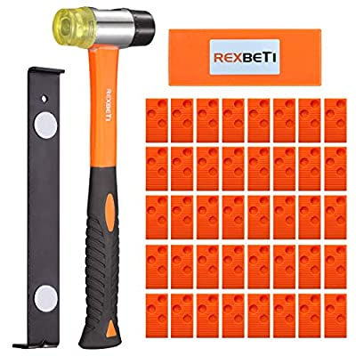 REXBETI Ultimate Laminate Wood Flooring Installation Kit with 40 Spacers, Tapping Block, Heavy Duty Pull Bar and Diameter 35mm High-Strength Fiberglass Handle Mallet, Non Slip Soft Grip