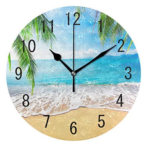 Domoko Home Decor Palme Meer Strand Sand rund Acryl Wanduhr Geräuschlos Silent Uhr Kunst für Wohnzimmer Küche Schlafzimmer