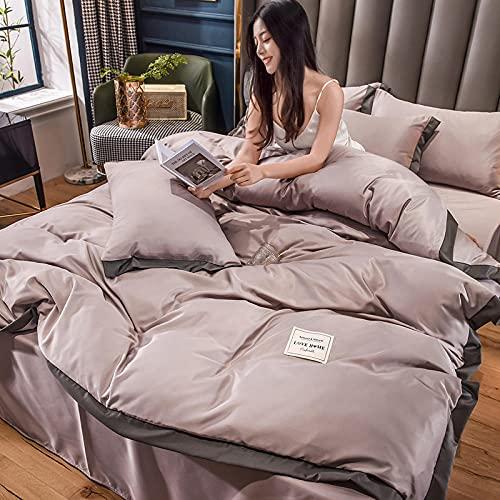Funda Nordica Cama 150/135 Microfibra,Lavar el conjunto de cuatro piezas de seda, cómoda sedosa cama de verano reversible de una sola almohada de la cama de la almohada Suministros de cama regalo-cam
