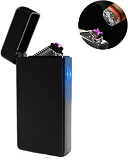 Dual Arc Plasma Lighter USB Rechargeable Windproof Flameless Butane Free Electric Lighter..