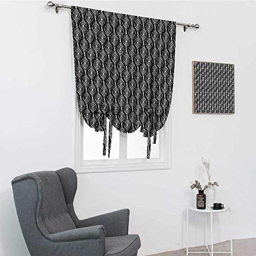 GugeABC Rideaux de nuit étoilée, motif spirale rond monochrome avec tourbillons, inspiration art moderne, abat-jour ballon, noir et blanc, 76,2 x 162,6 cm