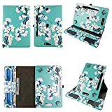 White Flower Tablet case 7 inch for Asus Nexus 7' 7inch Android Tablet Cases 360 Rotating Slim Folio Stand Protector pu Leather Cover Travel e-Reader Cash Slots