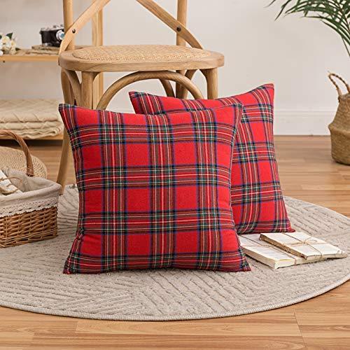 HAUSEIN Juego de 2 fundas de cojín decorativas con diseño de cuadros escoceses, rojo, verde y azul, para invierno, decoración para salón, dormitorio, sofá, 45 x 45 cm, color rojo