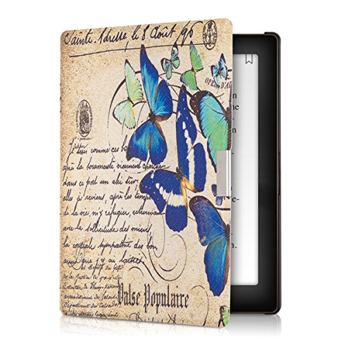 kwmobile Funda Compatible con Kobo Aura Edition 1 - para eReader - Mariposas y Poema