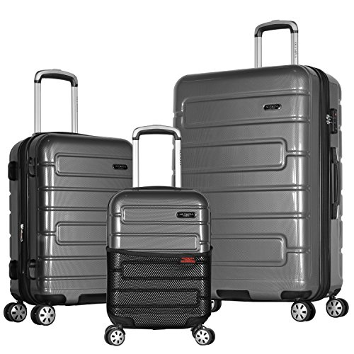 Olympia Nema 3-Piece Exp. Hardcase Spinner Luggage Set W/TSA Lock, Black