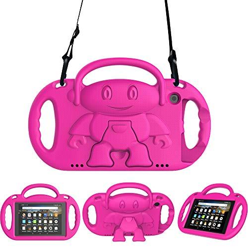 Surom - Custodia per bambini per Amazon Fire HD 8 2018/2017, leggera, antiurto, con manico e tracolla, per tablet Fire HD 8 (8a e 7a generazione, 2018&2017), colore: Rosa