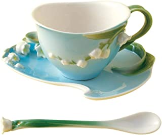 Two's Company Lily of the Valley Single Serve Tea Set for Adults, Includes Tea Cup, Saucer, and Spoon