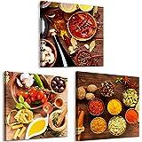 decomonkey Bilder Küche 60x20 cm 3 Teilig Leinwandbilder