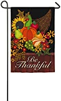 Evergreen Thankful Cornucopia Suede Garden Flag, 12.5 x 18 inches