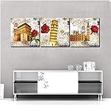 EDGIFT2 Impreso Lienzo Pinturas Europa Edificio Fotos de Pared Londres Italia Francia Arte Mural en la Pared Decoraciones 50x50cx3m Sin Marco Sin Marco