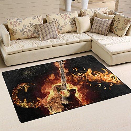 yibaihe, leicht, bedruckt mit Deko-Teppich, Teppich, modern mit brennender Gitarre wasserabweisend stoßfest. Für Wohn- und Schlafzimmer, 153 x 100 cm