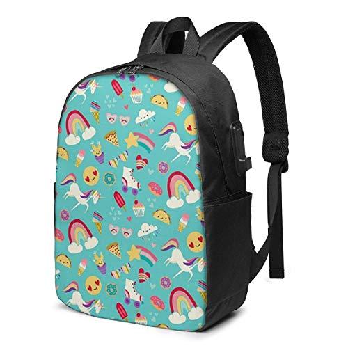 Hdadwy Tween Girl Icons s USB School Backpack Large Capacity Canvas Satchel Casual Travel Daypack for Adult Teen Women Men 17in