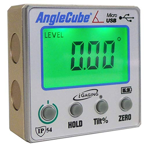 iGaging Angle Gage Backlit Digital Electronic Magnetic Level/Protractor/Bevel Gauge Angle Cube Gen 3