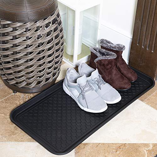 Ottomanson TRY400-30X15 Multi-Purpose Indoor & Outdoor Waterproof Tray, 15 x 30, Black