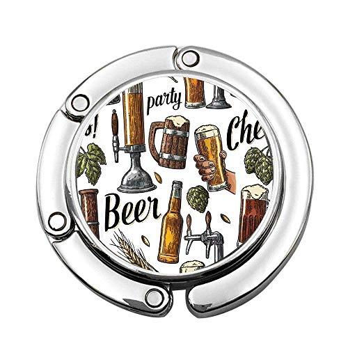 Party Series: Vasos de Cerveza de Mano y Copas de Vino Vintage con un Gancho de Monedero Personalizado Estampado Colgador de Bolso Plegable Colgador de Mesa Plegable