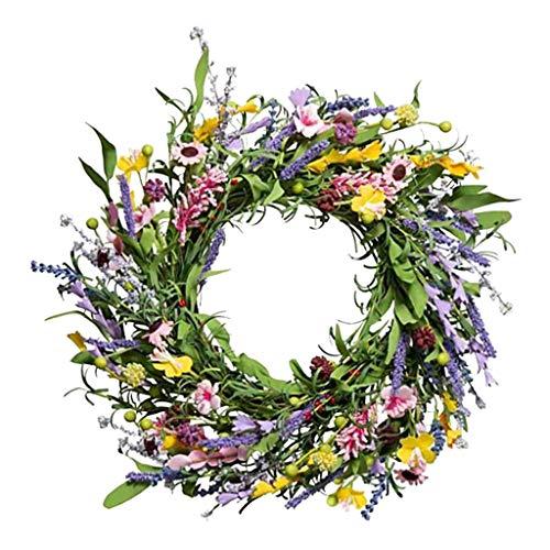 LOVIVER Guirnalda Floral de Primavera para Puerta Frontal, artesanía, Flores, Hojas, Guirnalda, decoración de Verano para Interiores y Exteriores, Colgante de