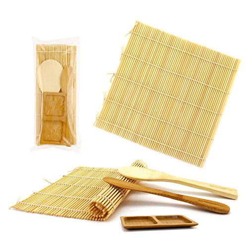BambooMN Deluxe Sushi Making Kit 2x Natural Rolling Mats, 1x Rice Paddle, 1x Spreader, 1x Compartment Sauce Dish | 100% Bamboo Mats and Utensils